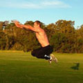 Working on bounds and jumps during plyometrics session at the track.